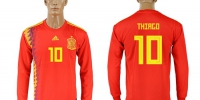 Spain #10 Thiago Red Home Long Sleeves Soccer Country Jersey - Администрация Мазановского района